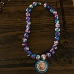 "Girls frozen ""bottle cap"" necklace"